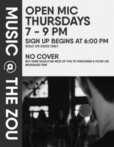 Thursday Open Mic Night @The Zou w/ Rollie Tussing
