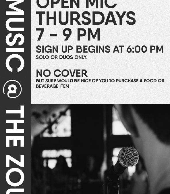 Thursday Open Mic at the Zou w/ Rollie Tussing guest host